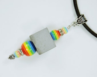 Necklace Concrete Cube Concrete jewelry on black leather strap with colorful beaded concrete cubes, concrete jewelry rainbow gay, Rainbow