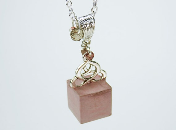 Necklace concrete cubes with ornamental red concrete concrete jewelry on silver chain bead Beads Pink