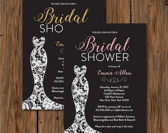 Lace Wedding Dress Bridal Shower Invitation