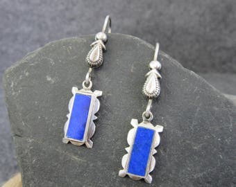 Vintage, Sterling Silver, Blue, Lapis, Earrings, Dangle, Drop, Silver, 925, Textured, Unique, Stone, Natural