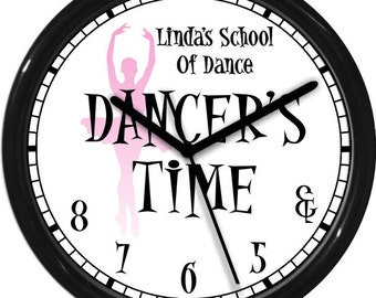 "Dancer's Time Ballet  10"" Wall Clock Personalized Gift & 5 6 7 8 Dance Studio Girl's Room Gift Black White Pink Dance Instructor"