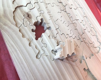 Wooden Tree Jigsaw Puzzle made from Western Red Cedar