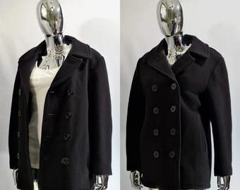 Black Pea Coat | U.S. 740N Pea Jacket By Schott NYC, Made In USA. Women's Size 10. Double Breasted Peacoat. Wool, Anchor Buttons, Navy Girls