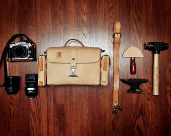 Leather camera bag, doctor bag, leather handbag, leather purse, Handmade in the USA - Kama