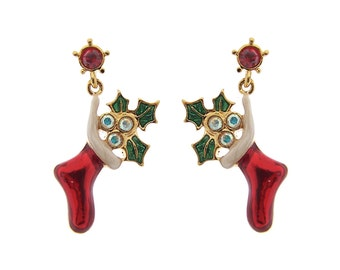 Best Christmas Earrings, Gold Plated, Stocking