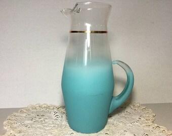 Aqua Blendo Pitcher, Tall Light Blue Blendo Ombré Pitcher