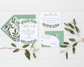 Greenery Wedding Invitation   Invitation Suite   Digital Invitation   Laurel Wreath Invitation