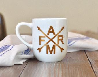 FARM weathervane with arrows copper design coffee cup - farmhouse coffee mug - farmhouse style kitchen - weathervane cup