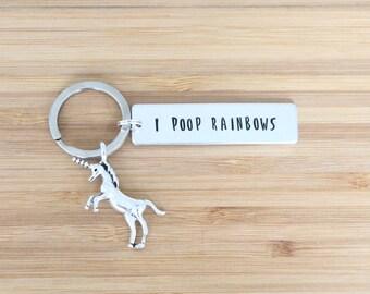 hand stamped keychain | i poop rainbows
