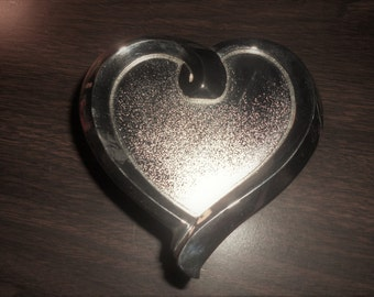 Pretty Silverplated Heart Trinket Box