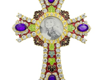 """6"""" Faberge Jeweled Cross with Crystals Picture Frame- SKU # XK10238"""