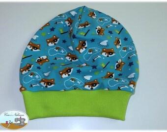 Beanie, beret, KU 51-54 pirates foxes turquoise Green