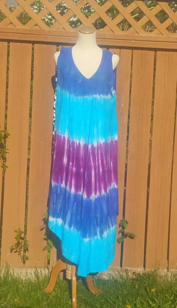 Blue Tie-dye dress, Beach Cover up, Sleeveless dress, Bohemian dress, Highlow dress, Indian dress, Long dress, hippie dress, gypsy dress