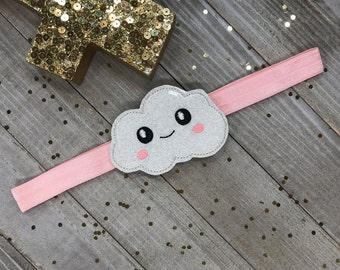 Sparkly Kawaii Embroidered Cloud on Pink Planner Band / Book Band