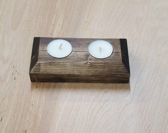Wood tea light candle holder
