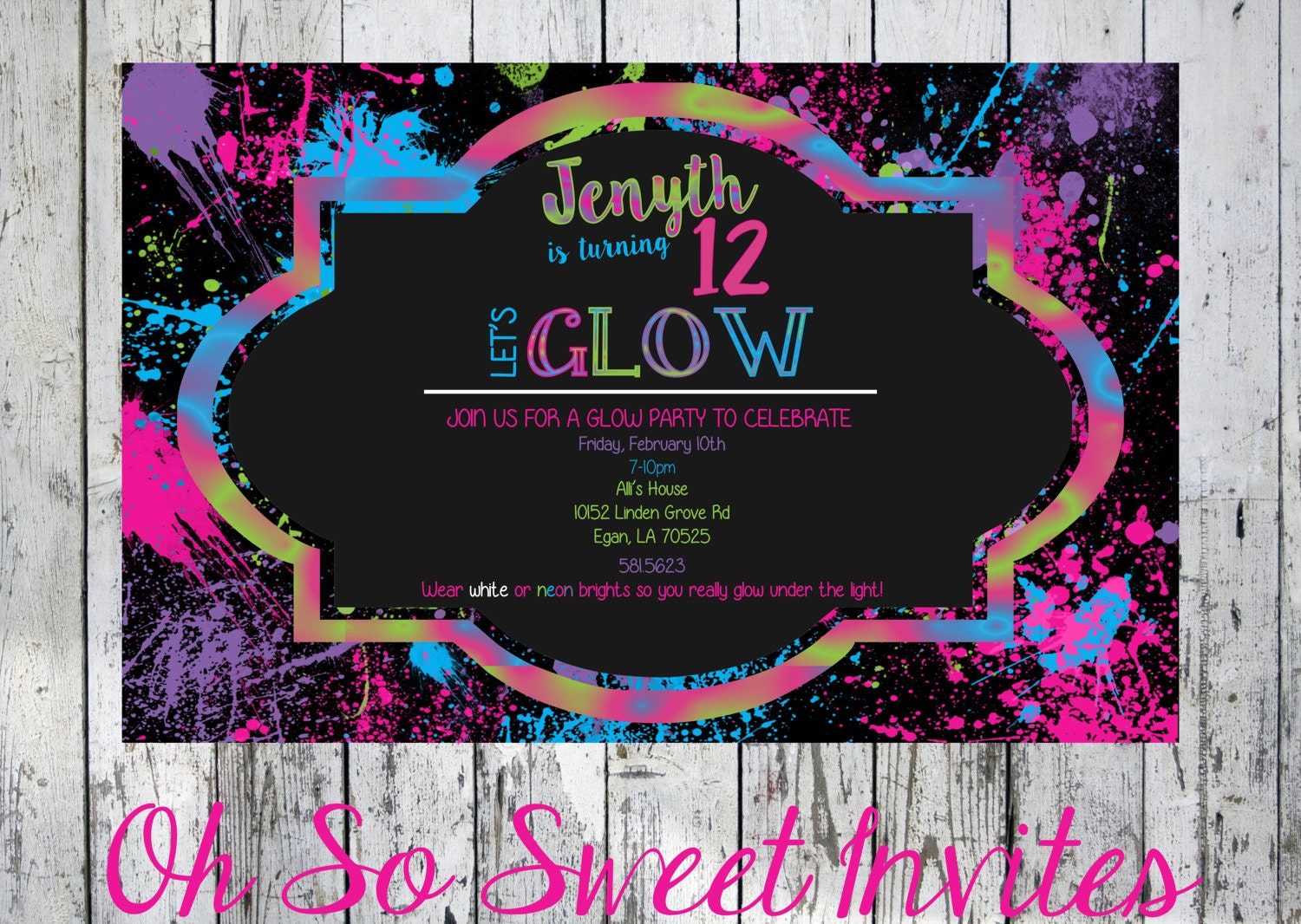 Glow in the dark invite - Glow in the dark party - Glow in the ...