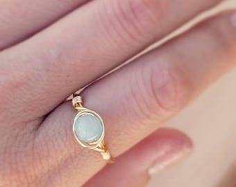 Aqua Stacking Ring, Glass Bead Ring, Gemstone Rings, Wire Wrap Rings, Dainty Ring, Skinny Stacking