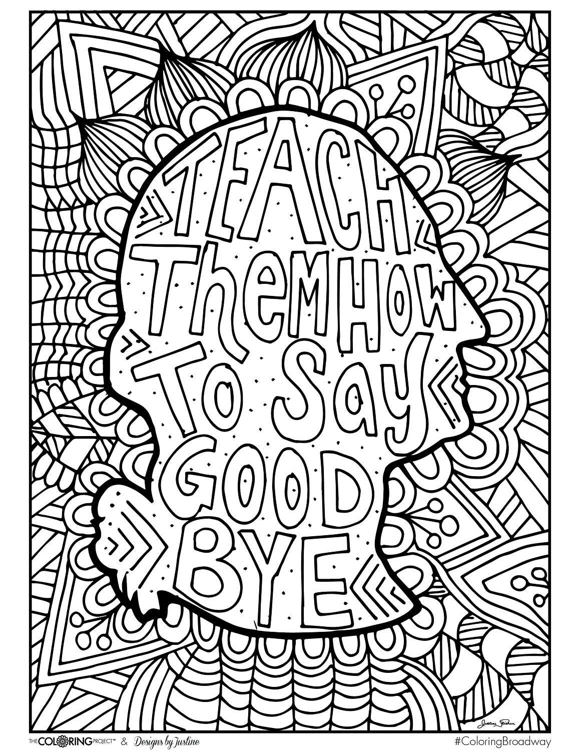 coloring broadway hamilton how to say goodbye note card