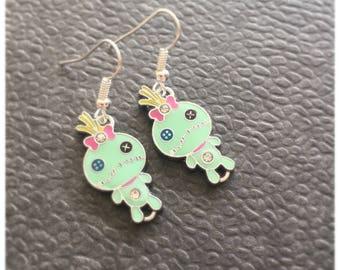 Green Button Eyed Doll Earrings