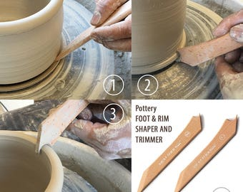 Pottery FOOT & RIM Shaper with Trimmer, Shape Trim Slicing Bottom of Pot, Wheel Throwing Tools,  bowls cups vases cylinder foot