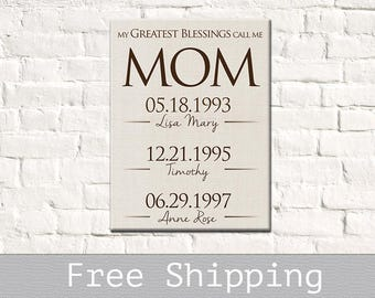 Mothers Day Gift - Birthday Gift for Mom - Personalized Canvas Mothers Day - Gifts for Mom - Mother of the Bride Gift - Grandmother Gift