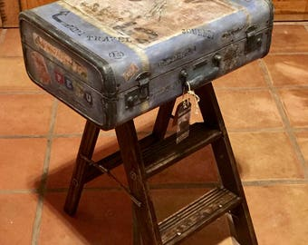 SOLD~ Accepting Custom Orders Personalized Luggage Industrial Nightstand Industrial Decor Old Vintage Industrial Travel Theme Suitcase Table