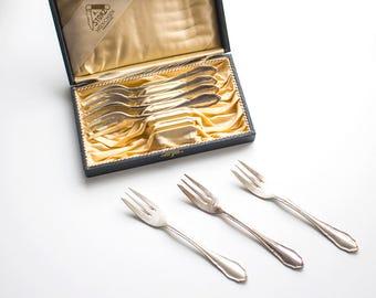 6 Silver Plated Dessert Forks, Vintage Silver Dessert Cutlery, Vintage Silver Plated Forks, Antique Silver 800 Dessert Fork Set