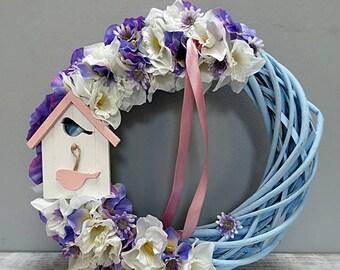 Summer Wreath, Blue Wreath, Front Door Wreath, Outdoor Wreath, Hand Made Wreath, Wreaths, Home Decor.