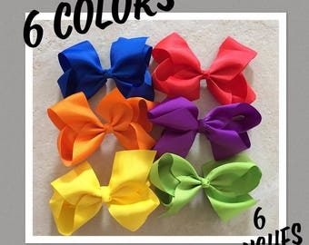 6 inch solid hair bows - You choose colors