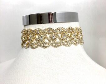 Gold Choker, Gold Rhinestone Necklace, Choker Jewelry, Flower Choker, Vintage Choker, Chokers