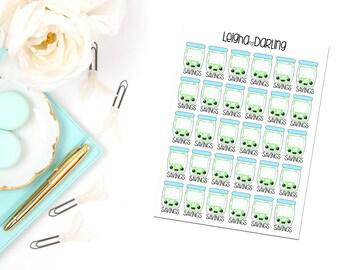 Kawaii Savings Jar Planner Stickers