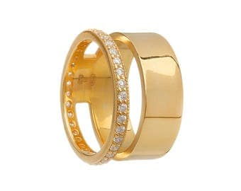 Double Tiered Gold Stacking Ring