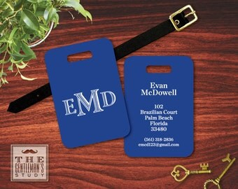 Colonial Monogram Luggage Tag - Personalized Bag Tag with Initials - Masculine Plastic ID Tag with Leather Strap - Travel Accessory Gift
