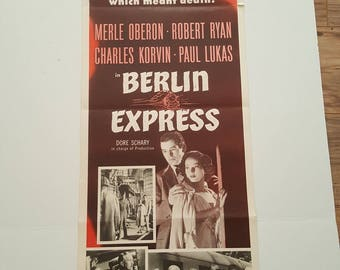 """FREE SHIPPING! Antique Movie Poster """"Berlin Express"""" 1955"""