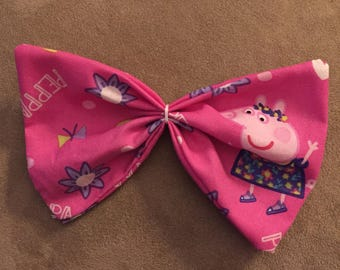 Fabric hair bow made with Peppa Pig fabric/hair bow/hair clip/pony tail holder/choose your pattern/popular patterns/handmade/customize