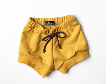 Baby mustard french terry shorts, Unisex Toddler mustard yellow shorts, Comfy baby Shorties, Boy or Girl jogger shorts, trendy baby clothes