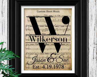 1st Anniversary Gift on Velvet Paper   Personalized Sheet Music to Your Wedding Song   First Year Anniversary Paper Gift for men   1st Year