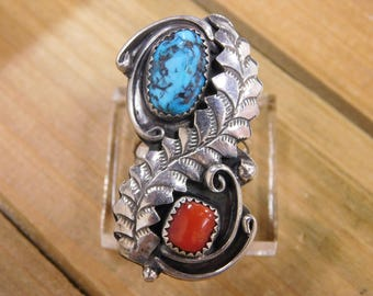 Signed Sterling Silver Turquoise and Coral Ring