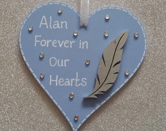 Forever In Our Hearts Wooden Heart/In Memory Of A Loved One