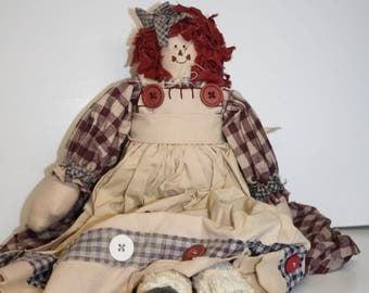 Homemade Raggedy Ann Doll ~ 21 inches ~ Raggedy Ann type doll ~  Cloth Doll