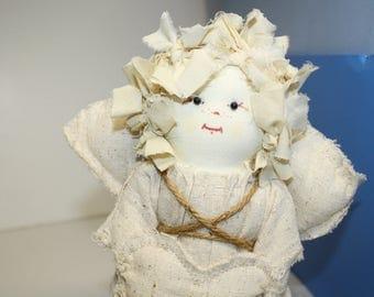 White Angel Cloth Art Doll, Winter Fairy Angel Doll, Soft Scupture Art Doll