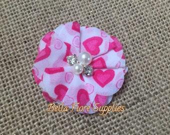 Heart Rhinestone Pearl Chiffon Flowers, 2 inch, Valentines Chiffon Flowers, Heart Flowers- Wholesale, DIY, Chiffon Headband