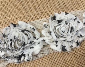 Black Stars Shabby Chiffon Trim- 4th of July Shabby Flowers- 2.5 inch- 2 1/2 inch- Shabby Chiffon Flowers- Wholesale