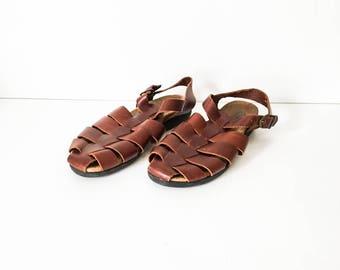 Huaraches  7W - Woven T strap leather sandals - Leather Huaraches - Leather woven shoes - Hipster sandals - Boho Huaraches