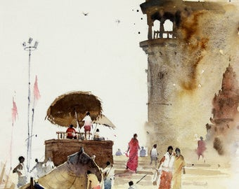 """Original Landscape, Suggestive Abstract Watercolor Painting, Size 16"""" x 12"""", Title: Banaras 2"""