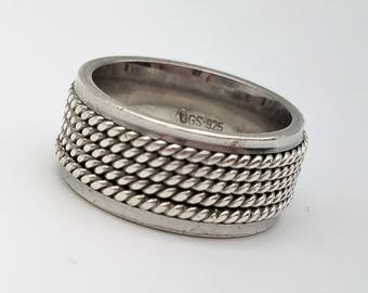 Vintage Hand Made Sterling Silver Rope Band Ring Made in Turkey - Size 7