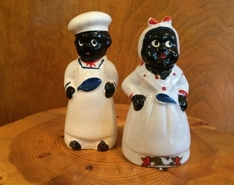Vintage 1950s Black Americana Mammy and Chef Salt and Pepper Shakers - Japan