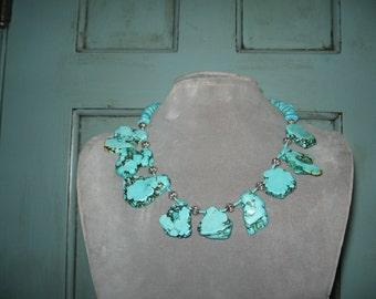 Gorgeous Turquoise Slab Stone Necklace