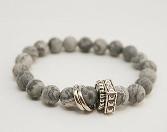 Gemstone Bracelet, Silver Agate Bracelet, Metal Charm Bracelet, Gifts under 20, Stacking Yoga Bracelet, Healing Stones Gift, Spiritual Beads