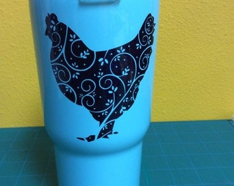 Teal RTIC Tumbler with black glitter chicken